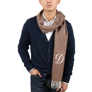 St Dupont Paris 100WS-L MA Brown/Ivory 100% Cashmere Classic Mens' Scarf - 14-72