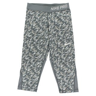 Nike Girls Pro Cool Allover Print Capris Cool Grey - cool grey/white