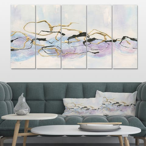 Designart 'Gold Lines on Pastel I' Modern Glam Gallery-wrapped Canvas