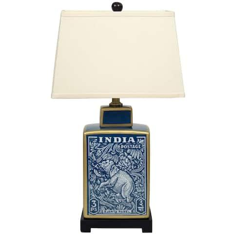 "23"" Blue Indian Elephant Table Lamp - 7""W x 15""L x 23""H"