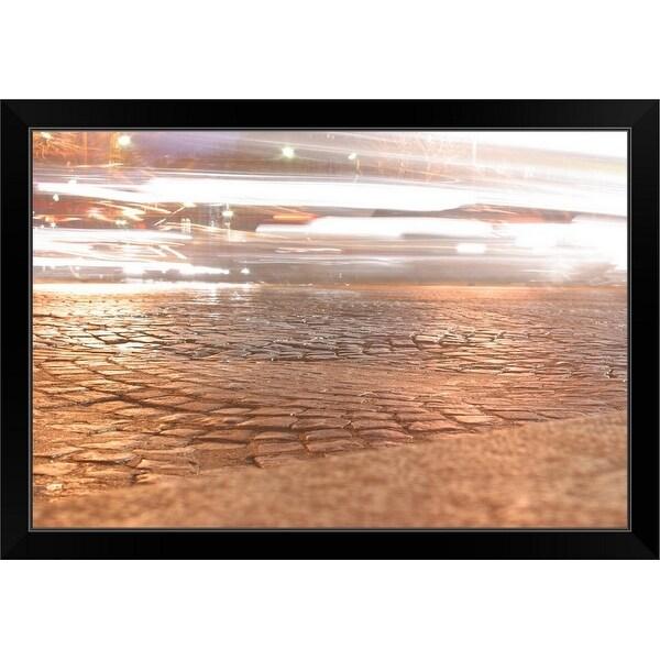 """Reflection on cobblestone street"" Black Framed Print"