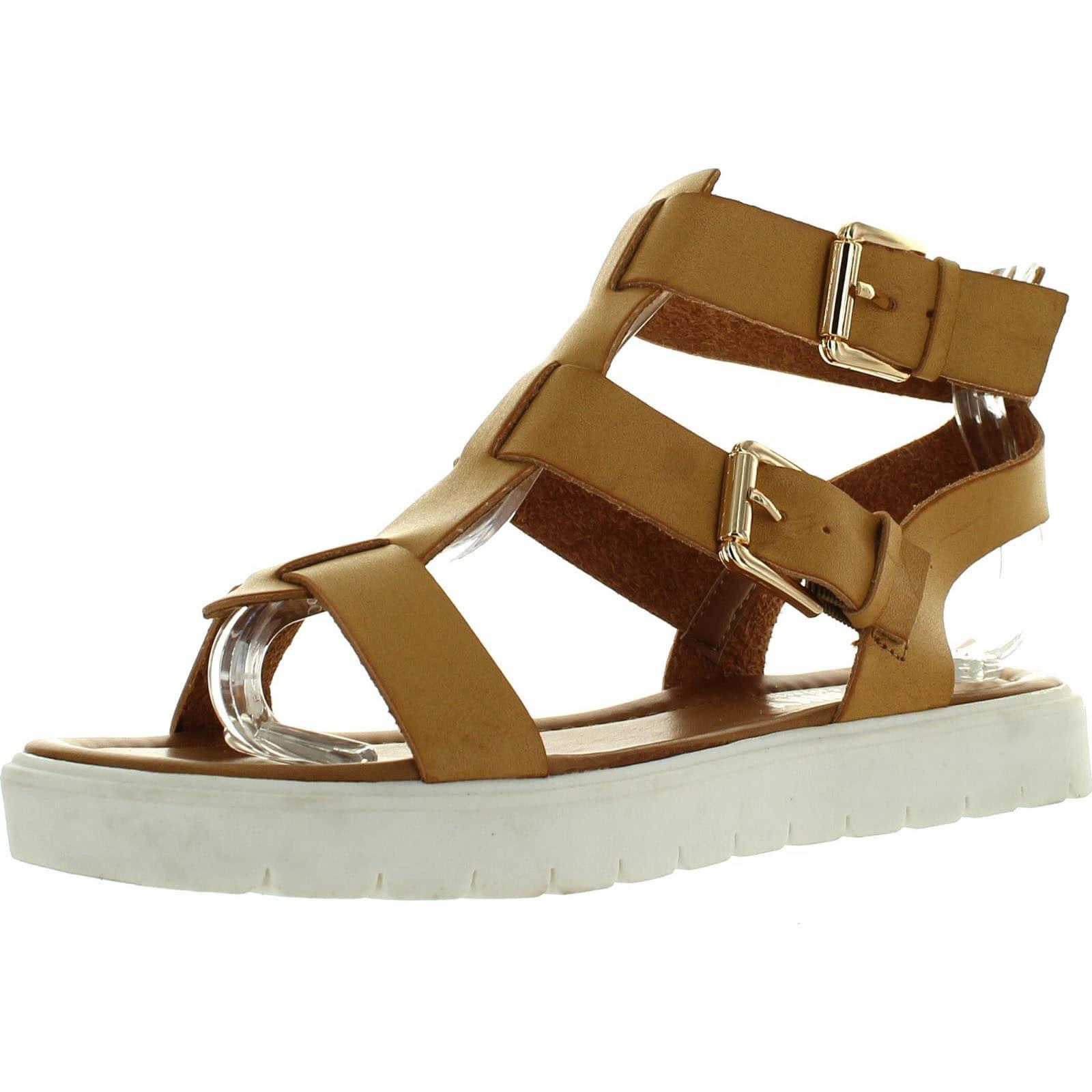 open toe strap flat sandals