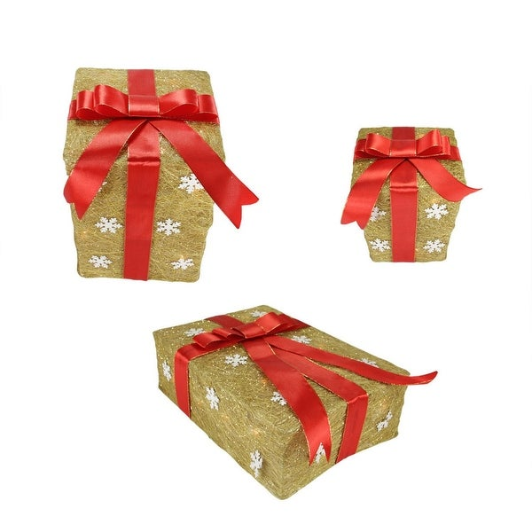 Set of 3 Gold Snowflake Sisal Gift Boxes Lighted Christmas Outdoor Decorations