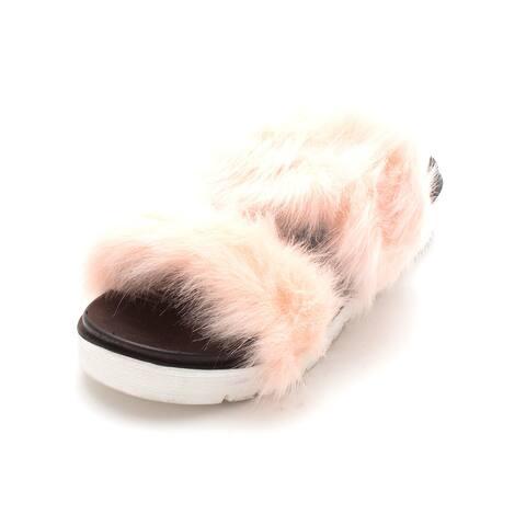 Qupid Womens DOVER-01 Open Toe Slip On Slippers