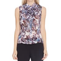 Tahari By ASL White Women's Size Medium M Floral Print Blouse