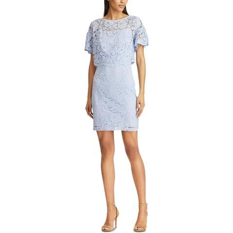 American Living Womens Chantella Cocktail Dress Lace Sheath - Ice Blue