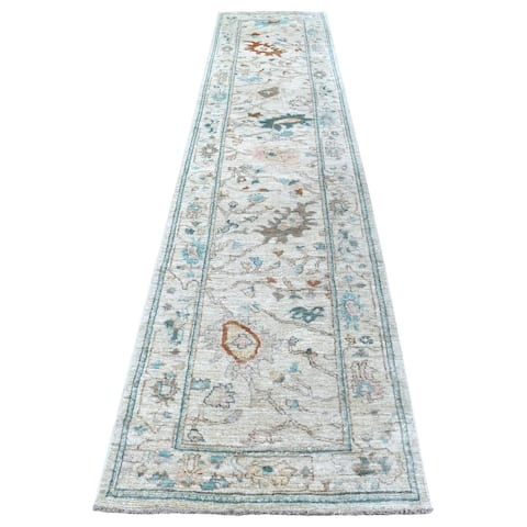 """Shahbanu Rugs Oushak Hand Knotted Pliable Wool Light Gray With With Floral Motifs Oriental Runner Rug (2'9"""" x 13'4"""")"""