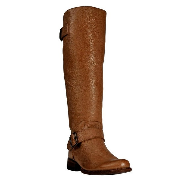 Johnny Ringo Fashion Boots Women Zipper Buckle Studs Cognac