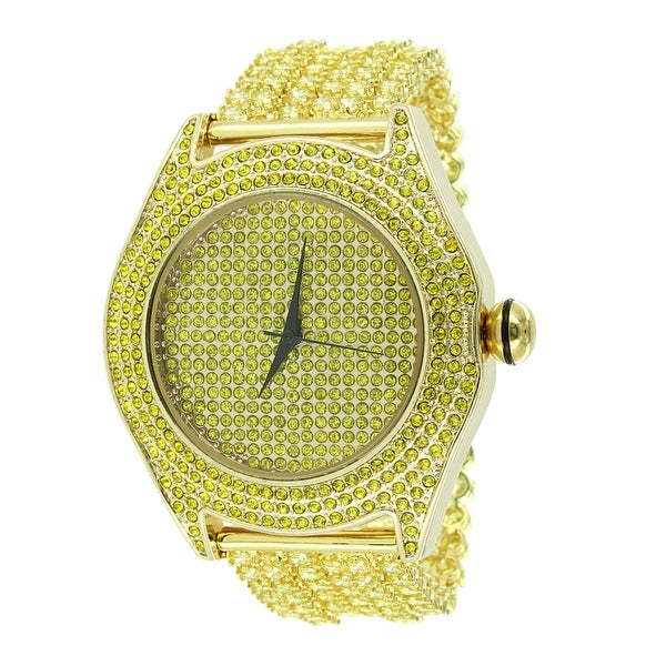Gold Tone Watch Canary Iced Out Lab Diamonds Stainless Steel Back Analog