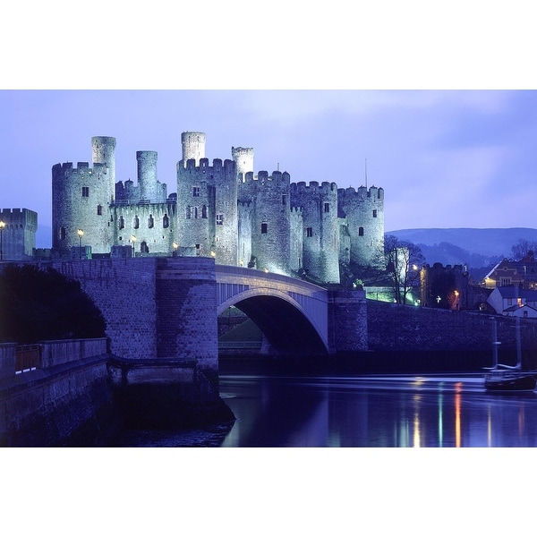 "LED Lighted Conwy Castle in Wales Scene Canvas Wall Art 15.75"" x 23.5"""