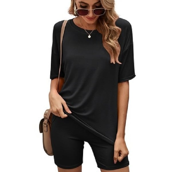 Haute Edition Matching Biker Short and T-Shirt Set with Plus. Opens flyout.