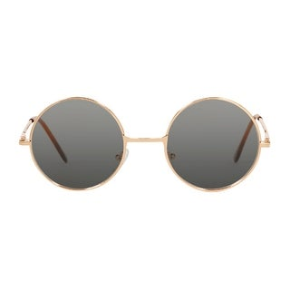Gravity Shades Circular Style Gold Frame Black Lens Sunglasses - One size