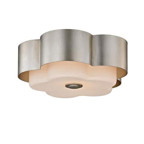 Troy Lighting Allure 2-light Silver Leaf Ceiling Flush Mount
