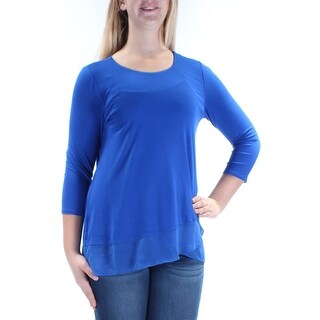 VINCE CAMUTO $79 Womens New 1240 Blue Tiered Career Top Petites M B+B
