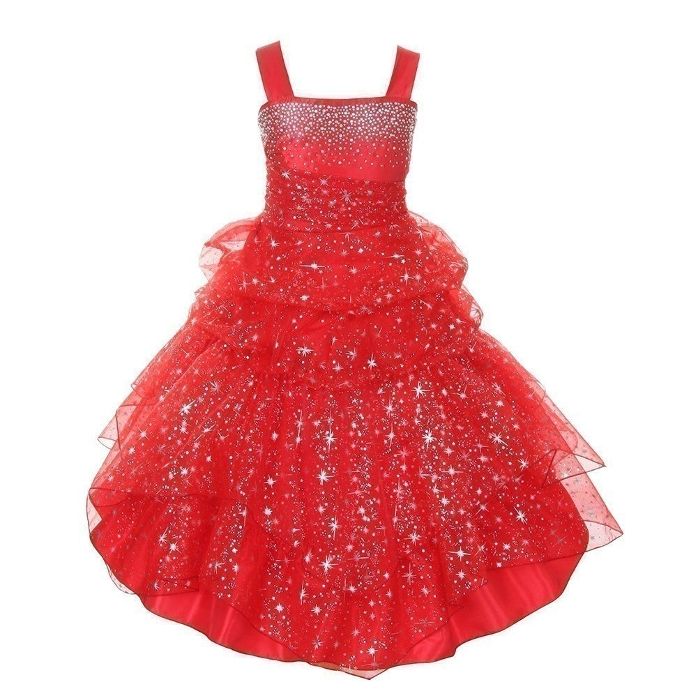 f0b4cce0535 Shop Little Girls Red Rhinestone Star Organza Pick Up Flower Girl Dress 2T-6  - Free Shipping Today - Overstock.com - 18164265
