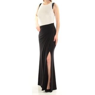 Womens Black Sleeveless Full-Length Sheath Evening Dress Size: 2