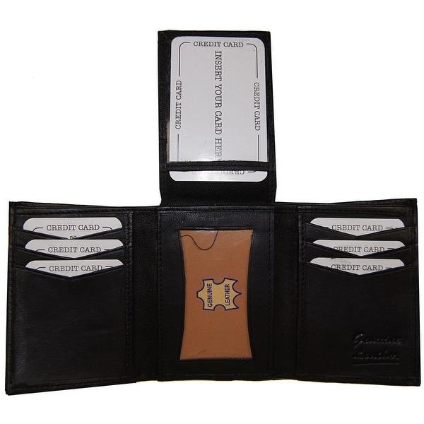 Improving Lifestyles Leather Mens WalletTrifold Black FIXED FlipUp Window ID FREE Organza Gift Bag SUN1125BK