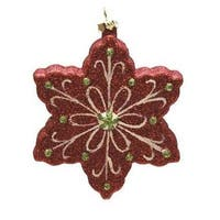 "4.25"" Merry & Bright Red, White and Green Glitter Shatterproof Snowflake Christmas Ornament - RED"