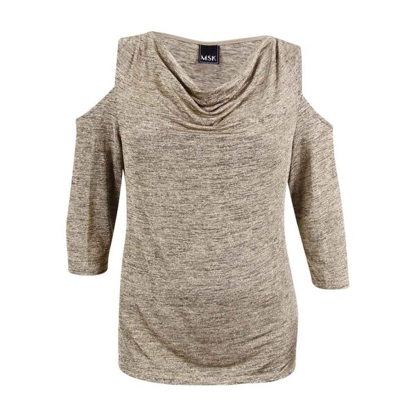 f1c3e86800bac Shop MSK Women s Plus Size Draped Glitter Cold-Shoulder Blouse - Sand Gold  - On Sale - Free Shipping On Orders Over  45 - Overstock - 20637074