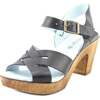 Eric Michael Philly Women Open Toe Leather Black Sandals