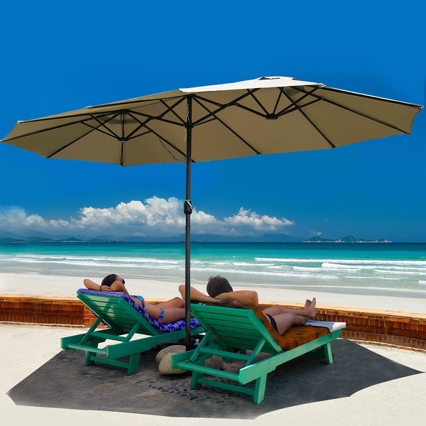 Costway 15 X27 Market Outdoor Umbrella Double Sided Twin Patio With Crank