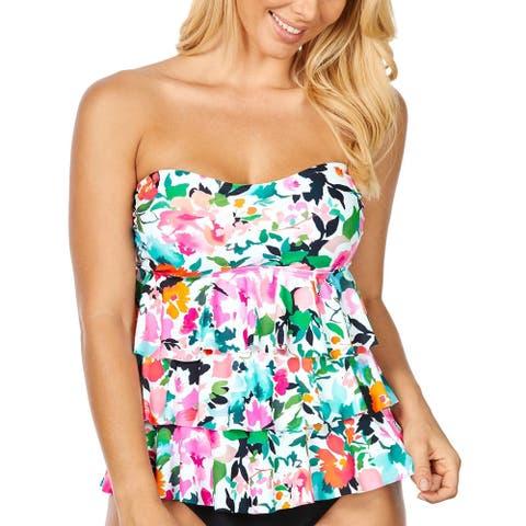 Island Escape Womens Honey Bloom Floral Tiered Tankini Swim Top - Black