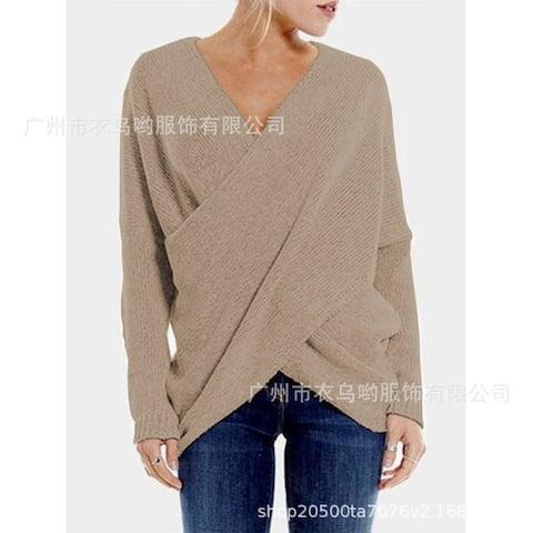 Women's Fashion Beveled Irregular Hem Sweater Pullover