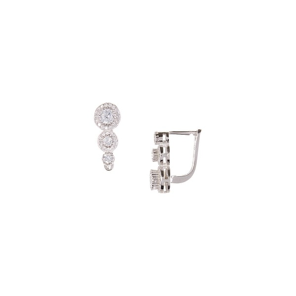 925 Sterling Silver French Lock Earring with Cubic Zirconia Layer