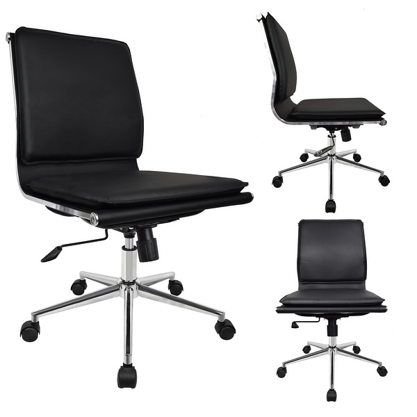 Shop 2xhome Designer Office Chair With Cushion Back Seat Armless No Arms Wheels Black Chrome Swivel Boss Tilt Home Conference Room Overstock 31129534