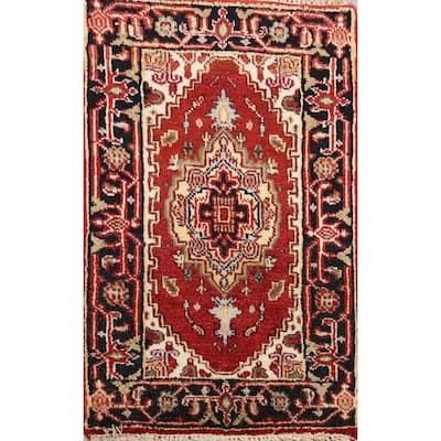 "Geometric Heriz Oriental Home Decor Area Rug Wool Hand-Knotted - 1'11"" x 3'0"""