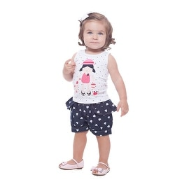 Baby Girl Outfit Sleeveless Shirt and Denim Skorts Set Pulla Bulla 3-12 Months