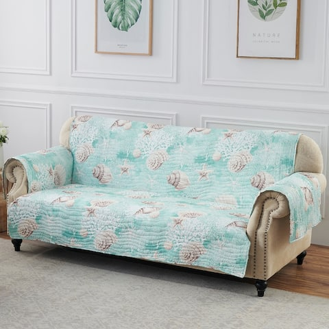 Barefoot Bungalow Ocean Turquoise Reversible Sofa/Couch Protector