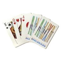 Steamboat Springs, Skis in Snow - LP Artwork (Poker Playing Cards Deck)