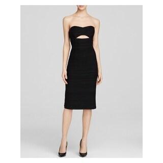 Link to NANETTE LEPORE Womens Black Spaghetti Strap Midi Pencil Dress  Size 4 Similar Items in Petites
