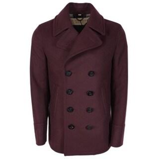 Burberry Brit Men's Burgundy Red Wool Cashmere Pea Coat Jacket