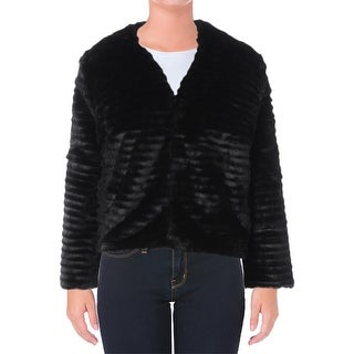 Lauren Ralph Lauren Womens Jacket Faux Fur Long Sleeves