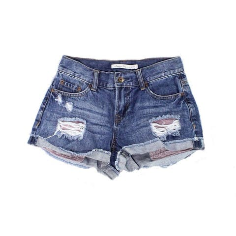 American Rag Women's Blue Size 0 Frayed Distressed Denim Shorts