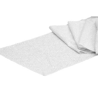 """Glitz Sequin Table Runner Sequin all over on Taffeta base Approx. 12""""x108"""" - White, 1 Piece"""