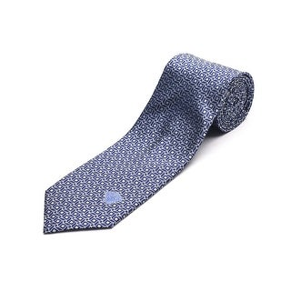 Versace Men's Medusa Head Slim Silk Neck Tie Navy Blue