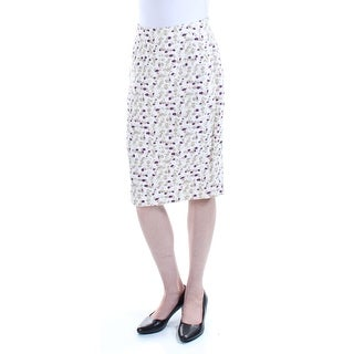 Womens Ivory Printed Knee Length Pleated Skirt Petites Size 2