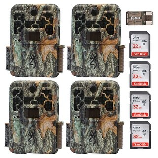 Browning Recon Force FHD 20MP Trail Camera (4) with 32GB Card (4) and USB Reader - Camouflage