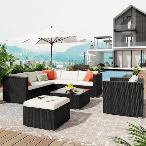 8-Piece Patio Wicker Sofa with Cushions and Coffee Table