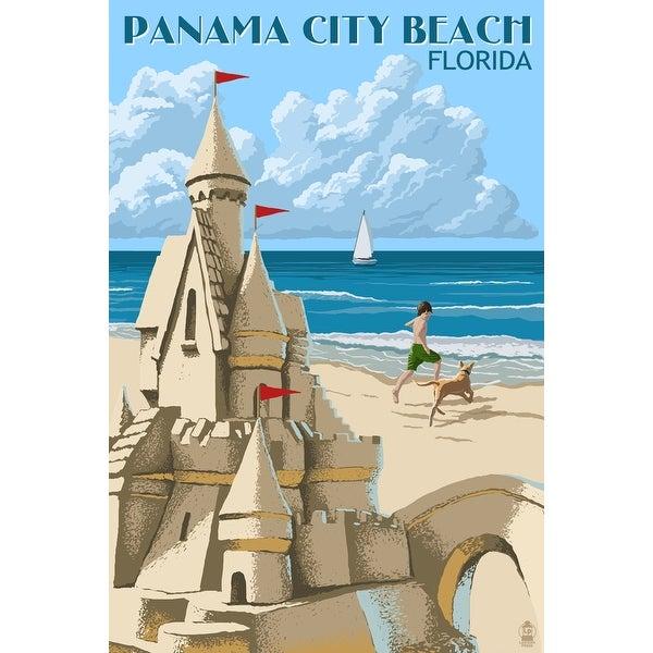 Panama City Beach, FL - Sand Castle - LP Artwork (Acrylic Wall Clock) - acrylic wall clock