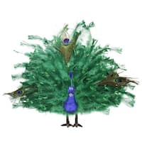 "20"" Colorful Green Regal Peacock Bird with Open Tail Feathers Christmas Decoration - BLue"