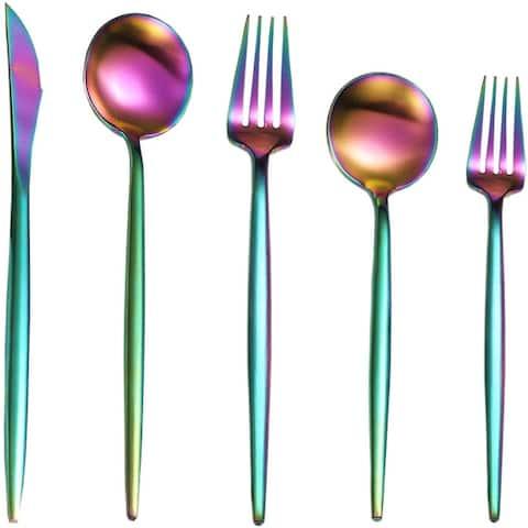 Black Silverware Set, 20 Pieces Stainless Steel Flatware Set Satin Finish, Kitchen Cutlery Utensil Set for 4, Dishwasher Safe