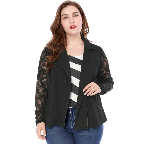 dd931aa2581 Shop Allegra K Women Plus Size Lace Long Sleeves Panel Zip Closure Moto  Jacket - Black - On Sale - Free Shipping Today - Overstock - 20834584
