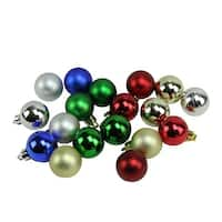 "18ct Traditionally Colored Shatterproof Shiny and Matte Christmas Ball Ornaments 1.25"" (30mm) - Red"