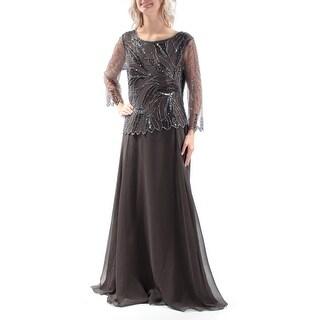JKARA $269 Womens New 1185 Gray Beaded Long Sleeve Blouson Dress 6 B+B