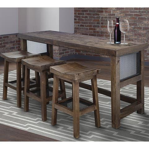 Q-Max 4-Piece Console Table Set with Saddle Style Stools In Rustic Worn Pine Finish