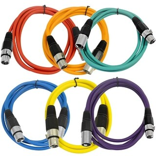 SEISMIC AUDIO (6 PACK) 6' XLR Patch Cables Colored
